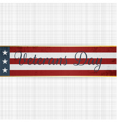 Happy veterans day retro ribbon vector