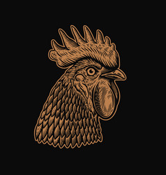 head rooster in engraving style design element vector image