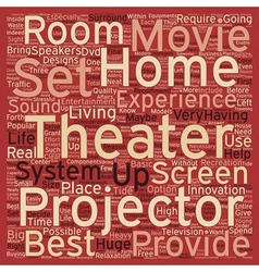Home theater projector text background wordcloud vector