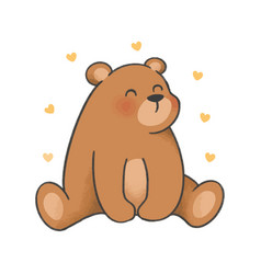 image bear with hearts on white background vector image