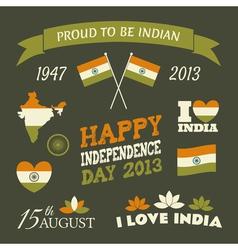India Independence Day Celebration Icons Set vector image