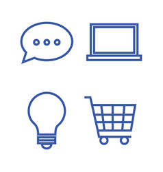 Internet technology set flat icons vector