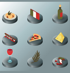 italy color isometric icons vector image
