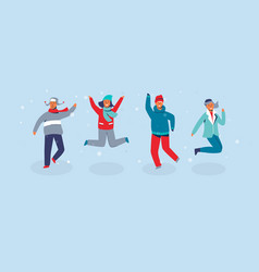 joyful characters friends jumping vector image