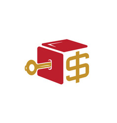 key with money box symbol vector image