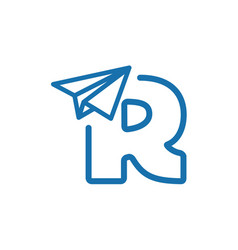 Letter r woth paper plane logo vector