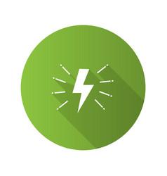 lightning bolt flat design long shadow glyph icon vector image