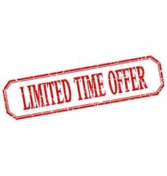 Limited time offer square red grunge vintage vector