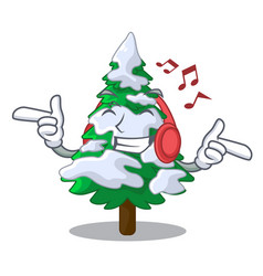 listening music realistic fir tree in snow mascot vector image