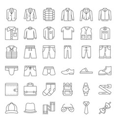 Male clothes and accessories thin line icon set vector