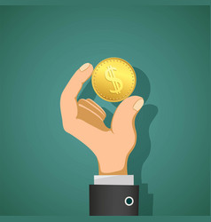 man holds in his hand a gold coin dollar vector image
