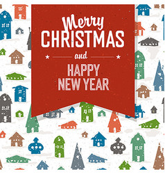 Merry Christmas Greeting Postcard Xmas Village vector