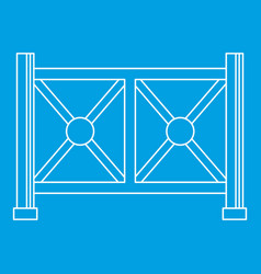 Metal fence icon outline style vector