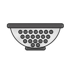 Metal kitchen strainer icon vector