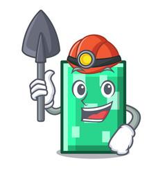 Miner rectangle mascot cartoon style vector