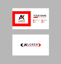 modern creative business card template with ak vector image