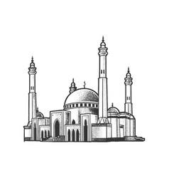 Mosque building line art sketch vector