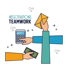 Negotiation team work flat icons vector