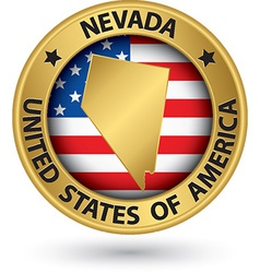 Nevada state gold label with state map vector