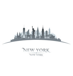 new york city silhouette white background vector image