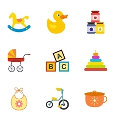 Newborn icons set flat style vector image