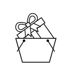 onilne shopping basket gift box commerce vector image