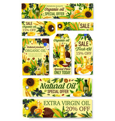 Organic natural cooking oils grocery store sale vector