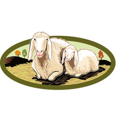 Oval frame with ewe and her lamb vector