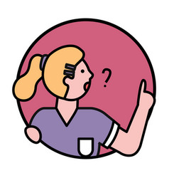 People avatar icon woman asking question vector