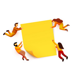 People flying around blank yellow sticky note vector