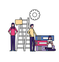 people talking stairs and books business vector image