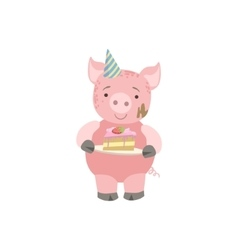 Pig Cute Animal Character Attending Birthday Party vector image