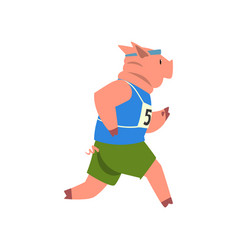 Pig in sport uniform running funny sportive wild vector