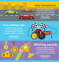 Racing auto banner horizontal set flat style vector
