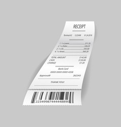 Receipt with costs on gray vector