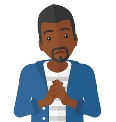 Regretful man with clasped hands vector image