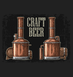 row tanks and wooden barrel in brewery beer i vector image