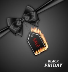 Sale Discount with Fire Flame Black Bow Ribbon vector image