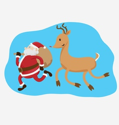 santa claus and rudolph the reindeer vector image