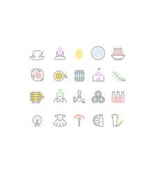Set line icons octoberfest vector