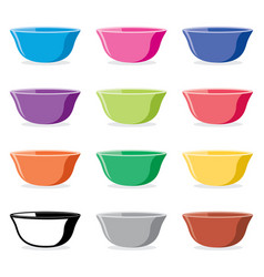 set of colorful ceramic bowls vector image