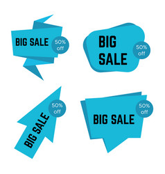 set of four blue big sale stickers vector image
