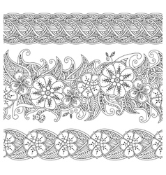 Set of seamless pattern floral borders isolated on vector