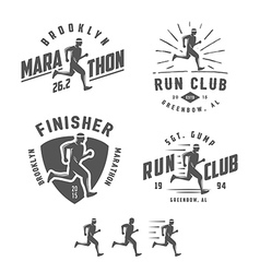 set vintage running club design elements vector image
