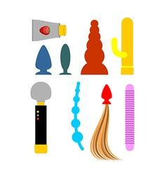 Sex toys set dildos and vibrators Accessories vector