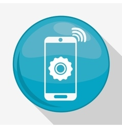 Smartphone and gear icon Internet of things vector