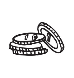 stack of coin doodle icon vector image