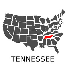 state tennessee on map usa vector image