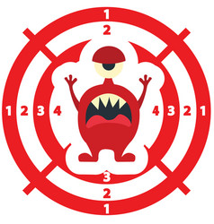 Target with monster flat style red color vector