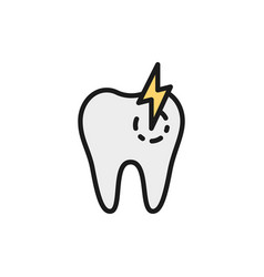 tooth with caries toothache sick dental flat vector image
